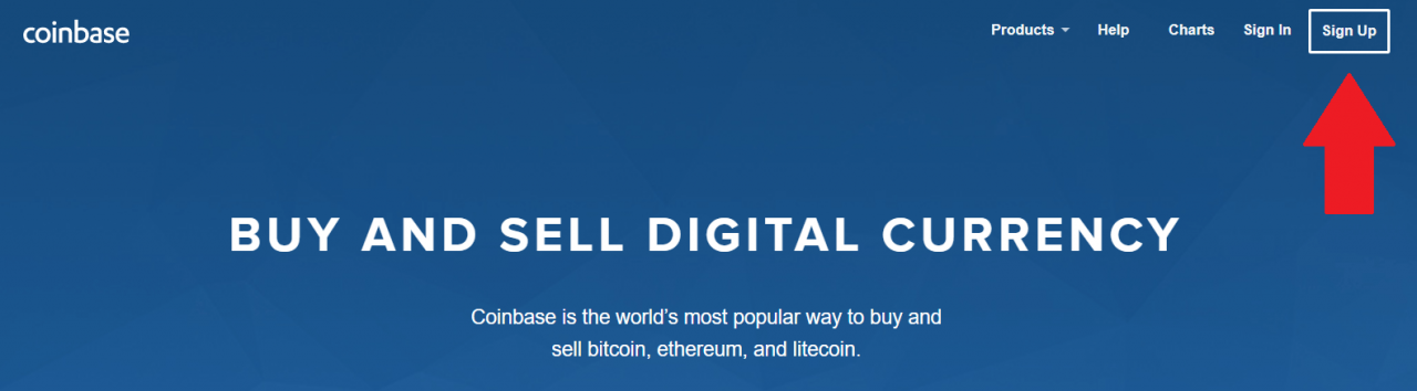 sign up at coinbase to buy bitcoin